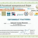 Сертификат участника Забневой Э.И.